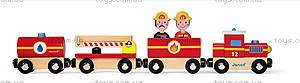 Деревянная игрушка «Пожарный поезд Стори», 12 частей, J08540, купить