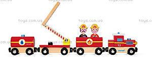 Деревянная игрушка «Пожарный поезд Стори», 12 частей, J08540, фото