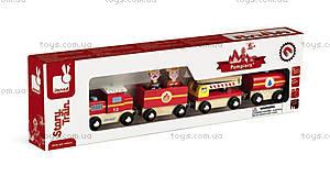 Деревянная игрушка «Пожарный поезд Стори», 12 частей, J08540