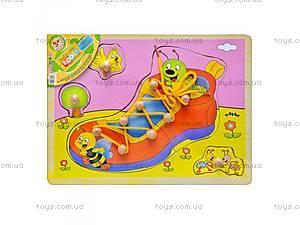 Деревянная игрушка Шнуровка,