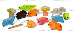 Деревянная игрушка-шнуровка «Бусы Саванна», шнуровка, J08169