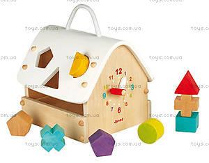 Деревянная игрушка-сортер «Домик с часами», 8 частей, J05346, купить
