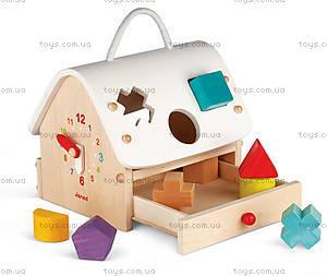 Деревянная игрушка-сортер «Домик с часами», 8 частей, J05346