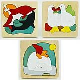 Деревянные пазлы: дельфины, уточки, мишки, 0536, детский