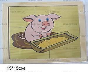 Деревянные пазлы «Домашние животные», 1137-FARM