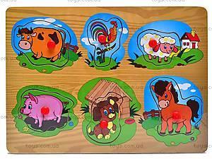 Деревянные вкладыши с животными, W02-3894, игрушки