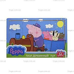 Деревянный пазл Peppa «Паровоз дедушки Пеппы», 25122, фото