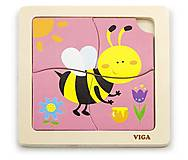 Деревянный пазл Viga Toys «Пчелка», 50138, детские игрушки