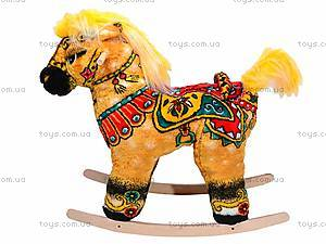 Детская деревянная качалка «Лошадь Буцефал» желтая, 40055-2, фото