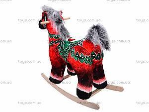 Детская деревянная качалка «Лошадь Буцефал» красная, 40055-1, фото