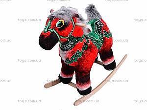 Детская деревянная качалка «Лошадь Буцефал» красная, 40055-1