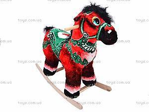 Детская деревянная качалка «Лошадь Ветерок» красная, 40056-1