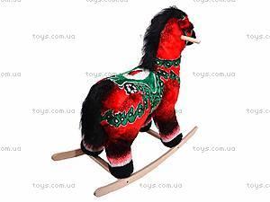Детская деревянная качалка «Лошадь Ветерок» красная, 40056-1, купить