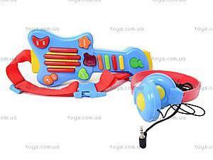 Детская гитара с наушниками, 7067, фото