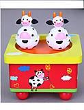 Детская музыкальная шкатулка от Viga Toys со смешными коровками, 51192, фото