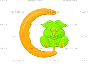 Детская погремушка в форме луны с зайчиком,
