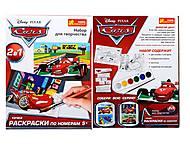 Детская раскраска по номерам «Тачки», 4004-14, купить