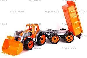 Детская игрушка «Трактор с ковшом и прицепом», 3688, toys.com.ua