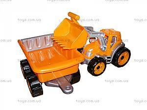 Детская игрушка «Трактор с ковшом и прицепом», 3688, іграшки