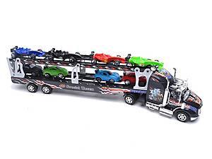 Детский трейлер с машинками, инерционный, 45635, цена