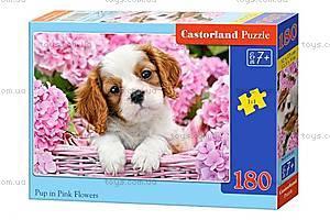 Пазл Castorland на 180 деталей «Щенок и розовые цветочки», В-018185
