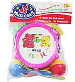 Детский барабан «Слоник и мишка» розовый, R376, купить