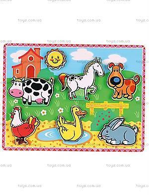 Детский деревянный пазл «Домашние животные», 56438