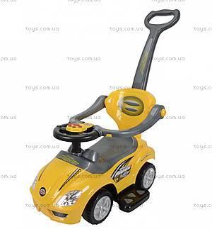 Детский толокар Magic Car с ручкой, желтый, U-042hY