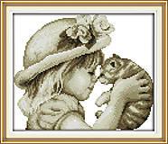 Девочка и кот, картина для рукоделия, R334, купить