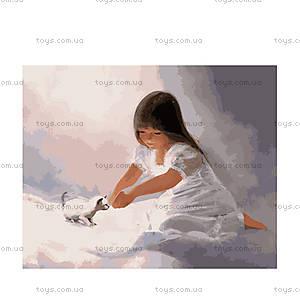 Девочка играет с котенком, роспись картины, MG1031