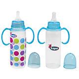 Бутылочка с ручкой пластиковая с силиконовой соской 240мл, синяя, T003, toys