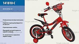 Двухколесный велосипед со стальной рамой «Тачки», 141810-C