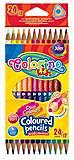 Двухсторонние карандаши цветные трехгранные 12 штук 24 цвета Colorino, 33046PTR, оптом