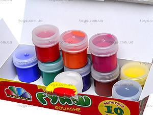 Краска гуашь «Увлечение», 10 цветов, 321036, фото