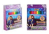 """Фломастеры 12 цветов """"SUPER MODEL"""" (3 набора в упаковке), 13316, купить игрушку"""