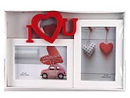 """Фоторамка семейная на 3 фото """" I love you"""" белая с красным, 10074(8302), купити"""