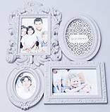 Фоторамка семейная, на 4 фото, 41*33см белая, AM8739(10076)