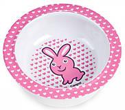 Глубокая тарелка из меламина на присоске с розовым зайчиком, 4/519-2, детские игрушки