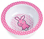 Глубокая тарелка из меламина на присоске с розовым зайчиком, 4/519-2, игрушки