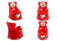 Горшок детский со спинкой, красный, ПХ4518 КРАСН, опт