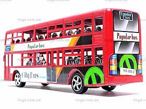 Инерционный двухэтажный автобус, 065-2, детские игрушки