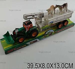 Инерционный трактор «Прицеп с животными», 3007B-19