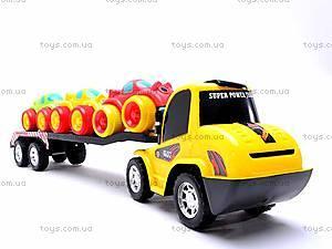 Инерционный трейлер с 3 машинками, A698-3, игрушки
