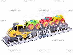 Инерционный трейлер с 3 машинками, A698-3, детские игрушки