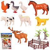 Набор домашних животных 8шт + загон и деревья, Q901-8, фото