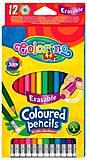 Карандаши цветные шестигранные Erasable с ластиком 12 цветов Colorino, 92531PTR, детский