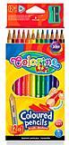 Карандаши цветные треугольные и точилка 12 цветов Colorino, 54706PTR, купить
