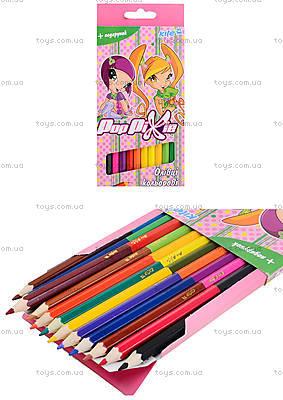 Карандаши цветные двухсторонние Pop Pixie, 12 штук, PP13-054K
