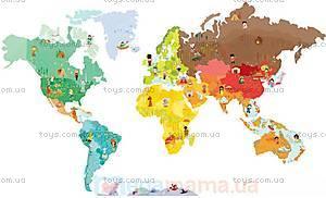Карта мира с животными, 101 магнит, J02850
