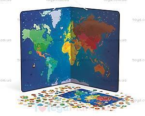 Карта мира с животными магнитная, 201 магнит, J02889, купить